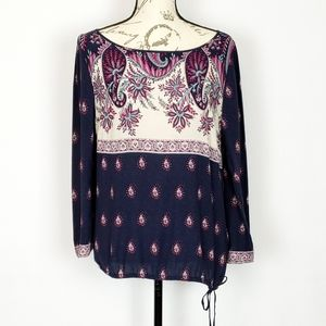 Lucky Brand Navy Paisley Long Sleeve Top - M